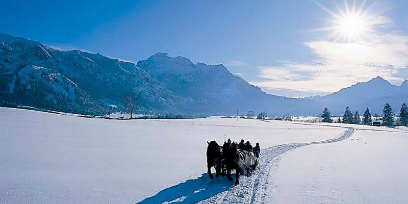 eine Schlittenfahrt im Winter